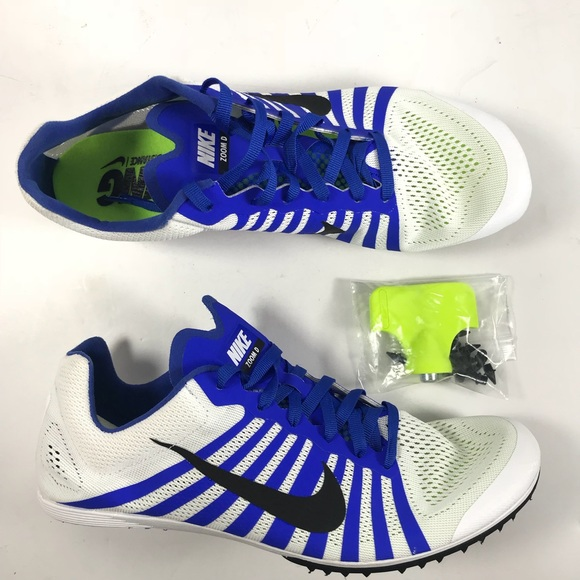 NIKE Zoom D Track Spikes Size 8.5 White Black Blue